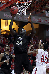 20 March 2017:  Tacko Fall and Deontae Hawkins(23) during a College NIT (National Invitational Tournament) 2nd round mens basketball game between the UCF (University of Central Florida) Knights and Illinois State Redbirds in  Redbird Arena, Normal IL