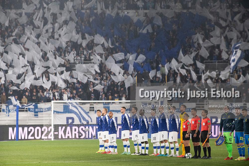 Avauskokoonpano. Suomi - Ukraina. MM-karsinta. Helsinki 9.10.2021. Photo: Jussi Eskola