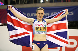 Great Britain's Laura Muir celebrates winning the gold medal at the Women's 1500m Final during day three of the European Indoor Athletics Championships at the Emirates Arena, Glasgow.
