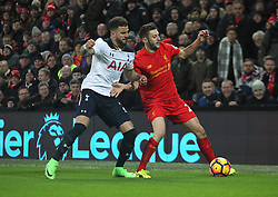 Kyle Walker of Tottenham Hotspur (L) and Adam Lallana of Liverpool in action - Mandatory by-line: Jack Phillips/JMP - 11/02/2017 - FOOTBALL - Anfield - Liverpool, England - Liverpool v Tottenham Hotspur - Premier League