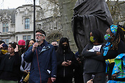 Kill the Bill demonstration in Central London against the proposed Police, Crime, Sentencing and Courts Bill on the 3rd April 2021, London, United Kingdom. Jeremy Corbyn , MP, speaks at the rally in Parliament Square. Thousands turned out in London and across the UK to show their objection to the Governments proposed bill. The march went from Hyde Park to Parliament Sqaure where there was speeches.  Many fear the bill is meant to suppress acts of protesting and demonstrations. The police will be given greater powers to prevent and stop actions of civil disobedience and peaceful protests and many see this as a suppression of their civil liberties. Sentencing for acts of peaceful protest is also likely to be much harsher and that may also act as a deterrent to protest.