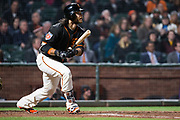 San Francisco Giants shortstop Brandon Crawford (35) bats against the Oakland Athletics at AT&T Park in San Francisco, California, on March 26, 2018. (Stan Olszewski/Special to S.F. Examiner)