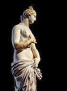 Roman Statue of Venus (Aphrodite), a 2nd - 3rd century AD marble statue from Italy.  This Roman statue of Aphrodite is the result of a fit between the bottom of an ancient body, a torso of the XVI century and an ancient face and top of head. The statue follows the style of a modest Aphrodite, known by other Roman replicas are copies of 3rd century BC Hellanistic Greek statues now lost.<br /> Borghese collection, Inv No. MR. 279 (Usual No Ma 369), Louvre Museum, Paris. .<br /> <br /> If you prefer to buy from our ALAMY STOCK LIBRARY page at https://www.alamy.com/portfolio/paul-williams-funkystock/greco-roman-sculptures.html- Type -    Louvre    - into LOWER SEARCH WITHIN GALLERY box - Refine search by adding a subject, place, background colour,etc.<br /> <br /> Visit our CLASSICAL WORLD HISTORIC SITES PHOTO COLLECTIONS for more photos to download or buy as wall art prints https://funkystock.photoshelter.com/gallery-collection/The-Romans-Art-Artefacts-Antiquities-Historic-Sites-Pictures-Images/C0000r2uLJJo9_s0c