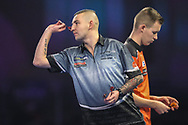 Nathan Aspinall during his first round match with Geert Nentjes during the World Darts Championships 2018 at Alexandra Palace, London, United Kingdom on 19 December 2018.