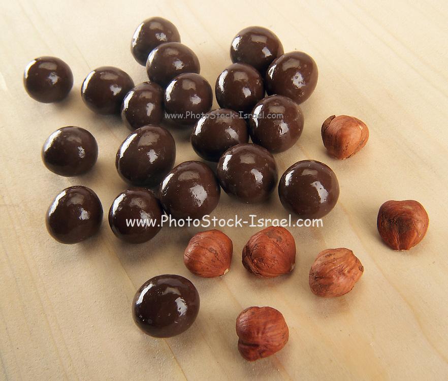 Carob Chocolate coated Hazel Nuts (Corylus avellana)