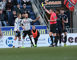 Dunfermline's Kallum Higginbotham gets his first yellow card for the tackle 0n Falkirk's Longridge. . Falkirk 1 v 1 Dunfermline, Scottish Championship game played 4/5/2017 at The Falkirk Stadium.