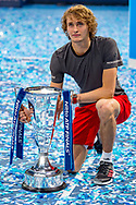 Alexander 'Sasha' Zverev of Germany holds the trophy during the Nitto ATP Tour Finals at the O2 Arena, London, United Kingdom on 18 November 2018. Photo by Martin Cole