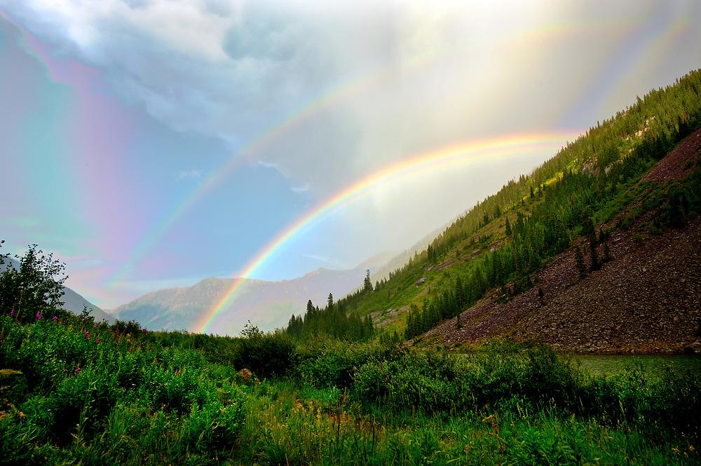 Summer hike in Maroon Bells, Elk Mountains, Pitkin & Gunnison counties, Colorado