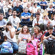 LONDON, ENGLAND - JULY 16: Fans on Henman Hill for Men's Final Day during the Wimbledon Lawn Tennis Championships at the All England Lawn Tennis and Croquet Club at Wimbledon on July 16, 2017 in London, England. (Photo by Tim Clayton/Corbis via Getty Images)