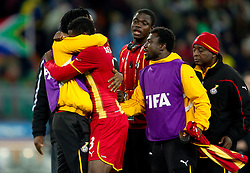 Disappointed players of Ghana after penalty shots at the 2010 FIFA World Cup South Africa Quarter Finals football match between Uruguay and Ghana on July 02, 2010 at Soccer City Stadium in Sowetto, suburb of Johannesburg. (Photo by Vid Ponikvar / Sportida)