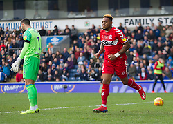 Britt Assombalonga of Middlesbrough celebrates after scoring his sides first goal - Mandatory by-line: Jack Phillips/JMP - 17/02/2019 - FOOTBALL - Ewood Park - Blackburn, England - Blackburn Rovers v Middlesbrough - English Football League Championship