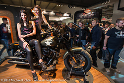 Harley-Davidson display at EICMA, the largest international motorcycle exhibition in the world. Milan, Italy. November 19, 2015.  Photography ©2015 Michael Lichter.