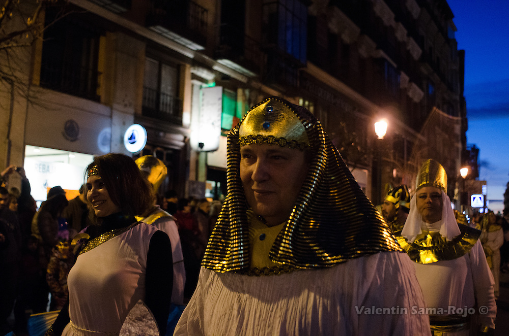 Men and women dressed as an ancient Egypcian for Madrid's carnival parade.