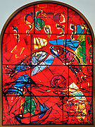 The Tribe of Zebulun. The Twelve Tribes of Israel depicted in stained glass By Marc Chagall (1887 - 1985). The Twelve Tribes are Reuben, Simeon, Levi, Judah, Issachar, Zebulun, Dan, Gad, Naphtali, Asher, Joseph, and Benjamin.