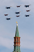 Moscow, Russia, 09/05/2008..Russian MIG-29 and SU-27 fighter jets fly over Red Square during the 63rd Victory Day celebrations, marking the end of the Second World War, referred to in Russia as the Great Patriotic War.