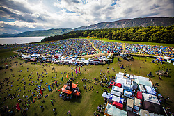 "The view from the Giant Wheel, overlooking the main campsite area. Saturday at Rockness 2013, the annual music festival which took place in Scotland at Clune Farm, Dores, on the banks of Loch Ness, near Inverness in the Scottish Highlands. The festival is known as ""the most beautiful festival in the world"" ."