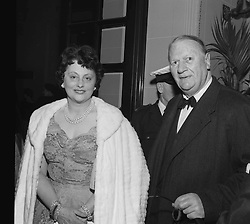 LORD & LADY KILLEARN at the Theatre Royal, Drury Lane, London on May 14th 1958.<br /> <br /> NON EXCLUSIVE - WORLD RIGHTS