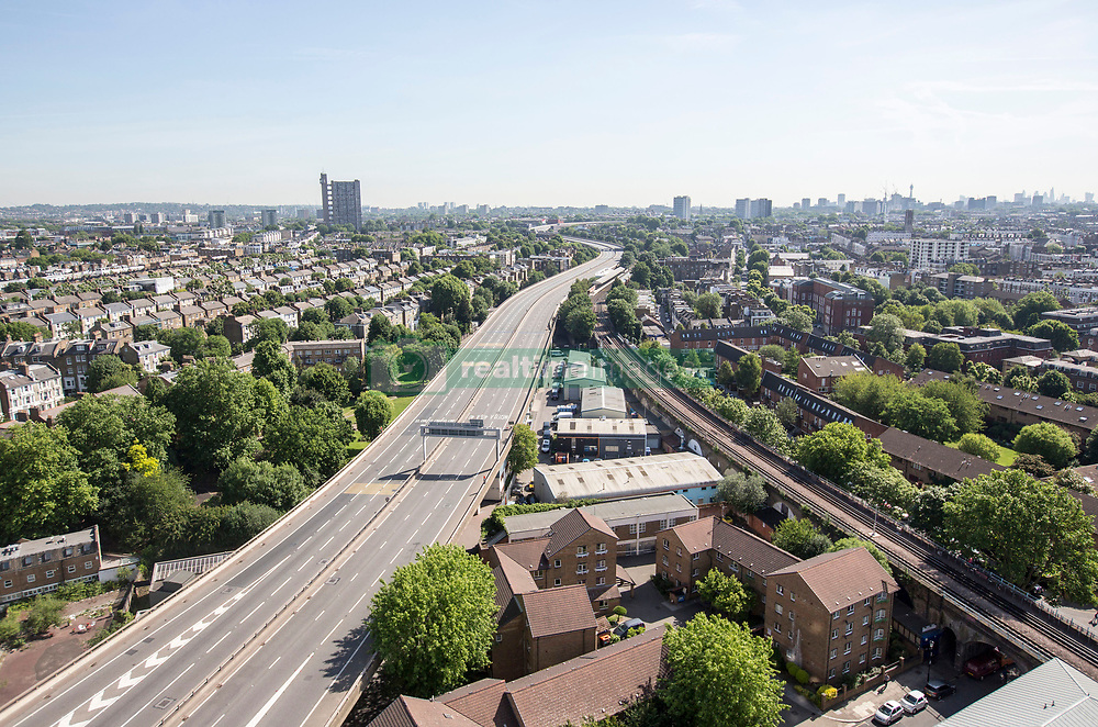 A deserted A40 Westway close to the scene a fire that engulfed the 24-storey Grenfell Tower in west London.