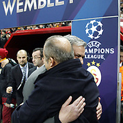 Galatasaray's coach Fatih Terim (R) and Real Madrid's coach Jose Mourinho (L) during their UEFA Champions League Quarter-finals, Second leg match Galatasaray between Real Madrid at the TT Arena AliSamiYen Spor Kompleksi in Istanbul, Turkey on Tuesday 09 April 2013. Photo by Aykut AKICI/TURKPIX