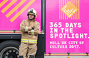 17 January 2017: A Humberside Fire and Rescue Service  Fire Engine made it's maiden journey today in Trinity Square in Hull 2017 City of Culture colours. <br /> Fire fighter Simon English.<br /> Picture: Sean Spencer/Hull News & Pictures Ltd<br /> 01482 210267/07976 433960<br /> www.hullnews.co.uk         sean@hullnews.co.uk
