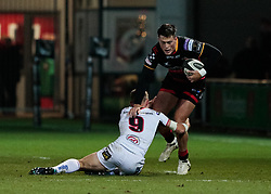 Jared Rosser is tackled by Ulster Rugby's Paul Marshall<br /> <br /> Photographer Simon King/Replay Images<br /> <br /> Guinness Pro14 Round 10 - Dragons v Ulster - Friday 1st December 2017 - Rodney Parade - Newport<br /> <br /> World Copyright © 2017 Replay Images. All rights reserved. info@replayimages.co.uk - www.replayimages.co.uk