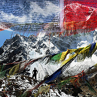 Memorial flags and rock piles for those who have died on the mountain are placed on the main track to Everest near Lobuche so that climbers can pay their respects before trying to summit the mountain.Photograph David Cheskin.