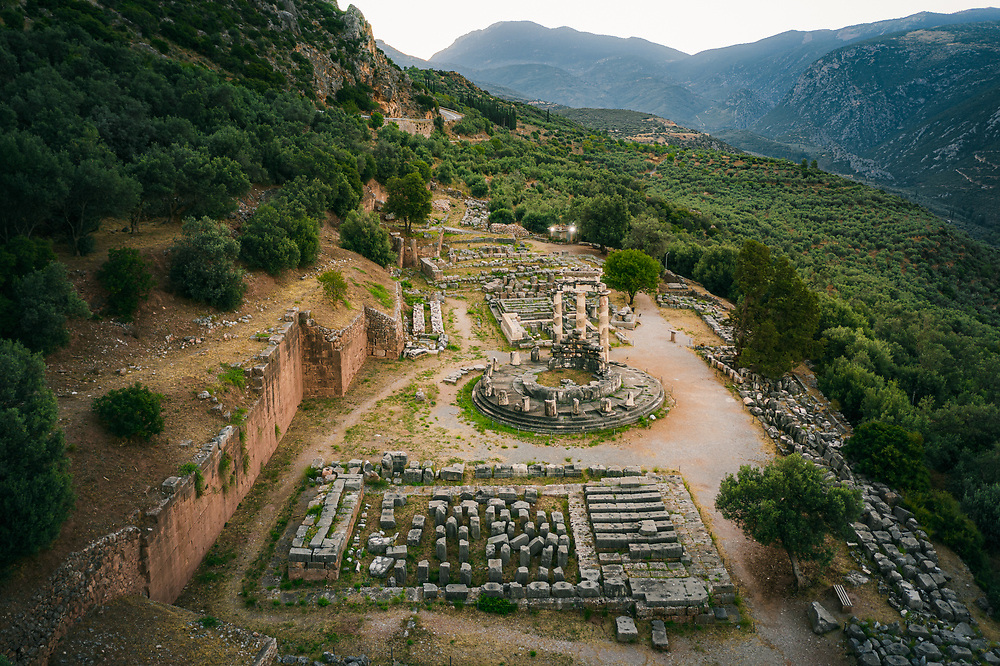 Ruins of Athena Pronaia Temple in the ancient Greek town of Delphi, Greece