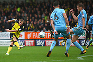 Burton Albion defender Jamie Allen (4) takes a shot for the Brewers during the EFL Sky Bet Championship match between Burton Albion and Wolverhampton Wanderers at the Pirelli Stadium, Burton upon Trent, England on 30 September 2017. Photo by John Potts.