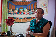 """Portrait of Julius Korckovsky in his house at the Roma part of the district """"Podsadek"""" (2013). The town of Stara Lubovna has a population of 16350, of whom 2 060 (13%) are of Roma origin. The majority of Roma live in the Podsadek district, where 980 (74%) out of 1330 inhabitants are Roma."""