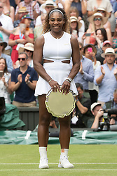 © Licensed to London News Pictures. 13/07/2019. London, UK. Serena Williams of the United States loses her match against Simona Halep of Romania the ladies singles finals of the Wimbledon Tennis Championships 2019 held on Day 12 held at the All England Lawn Tennis and Croquet Club. Photo credit: Ray Tang/LNP