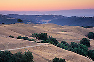 Dawn light over rolling hills near Sheep Ridge, Santa Clara County, California