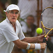 Henk Nijeboer, Great Britain, in action in the 65 Mens Singles during the 2009 ITF Super-Seniors World Team and Individual Championships at Perth, Western Australia, between 2-15th November, 2009.