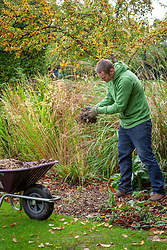 Adding mulch to the borders in autumn