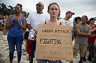 People at the Louisiana State Capitol Building for  a rally on Sunday, July 10, 2016. About 1000  people turned out to a rally and march in Baton Rouge, LA in response to the police killing of Alton Sterling.