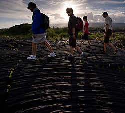 Hikers, hoping to see lava from the middle east rift zone of the Kilauea volcano enter the ocean, hike over harden lava to the Kalapana viewing site managed by Hawaii County Civil Defense. The parking lot for the trailhead is at the end of Highway 130 south of Pahoa on the Big Island of Hawaii. The best lava viewing is during the early evening hours.