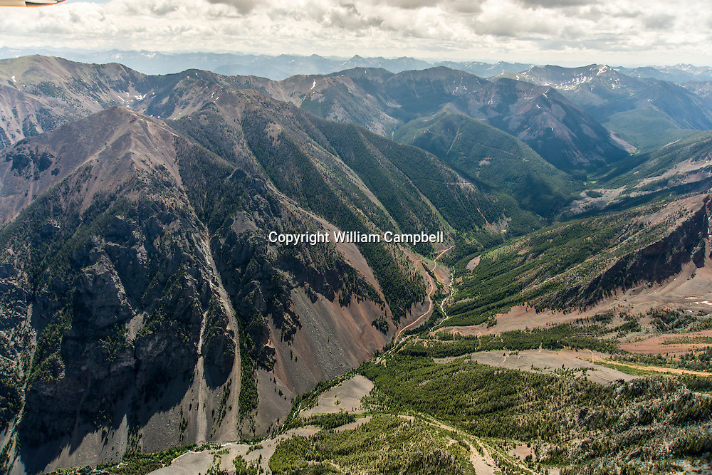 Emigrant Gulch aerial view looking east from Emigrant Peak. Lucky Minerials has mine claims on both sides of the gulch on both private and public land.