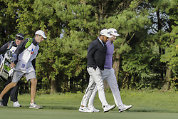 October 22, 2017 - Seogwipo, Jeju Island, South Korea - October 22, 2017-Seogwipo, Jeju Island, South Korea-Harold Varner III and Branden Grace moving after tee up on the 2th green during an PGA TOUR CJ CUP NINE BRIDGE DAY 4 at Nine Bridge CC in Jeju Island, South Korea. (Credit Image: © Ryu Seung Il via ZUMA Wire)