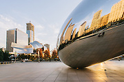 Millennium Park's Cloud Gate Sculpture on a Fall morning in Chicago, Illinois.