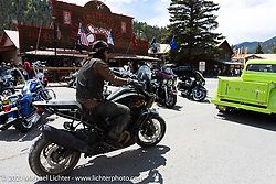Danger Dan Hardick riding his 2-week old Harley-Davidson Pan-America adventure bike through Red River, NM, USA. Sunday, May 30, 2021. Photography ©2021 Michael Lichter.