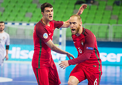 Pedro Cary of Portugal and Andre Coelho of Portugal celebrates during futsal match between Portugal and Azerbaijan in Quaterfinals of UEFA Futsal EURO 2018, on February 6, 2018 in Arena Stozice, Ljubljana, Slovenia. Photo by Ziga Zupan / Sportida?Pedro Cary of Portugal and Andre Coelho of Portugal celebrates during futsal match between Portugal and Azerbaijan in Quaterfinals of UEFA Futsal EURO 2018, on February 6, 2018 in Arena Stozice, Ljubljana, Slovenia. Photo by Ziga Zupan / Sportida