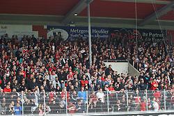 24.09.2014, Voith Arena, Heidenheim, GER, 2. FBL, 1. FC Heidenheim vs 1. FC Nuernberg, 7. Runde, im Bild Club Fans haengen die Banner nach 10 min ab // during the 2nd German Bundesliga 7th round match between 1. FC Heidenheim and 1. FC Nuernberg at the Voith Arena in Heidenheim, Germany on 2014/09/24. EXPA Pictures © 2014, PhotoCredit: EXPA/ Eibner-Pressefoto/ Langer<br /> <br /> *****ATTENTION - OUT of GER*****