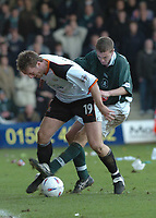Picture: Raymond Field<br />Luton Town v Plymouth Argle<br />Nationwide League Division Two<br />20/03/2004<br /><br />Steve Howard is put under pressure by Paul Connolly