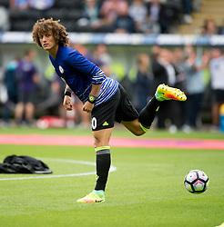 David Luiz  of Chelsea warms up prior to kick off. - Mandatory byline: Alex James/JMP - 07966386802 - 11/09/2016 - FOOTBALL - Barclays premier league -swansea,Wales - Swansea v Chelsea  -