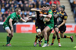 Andrea Masi of Wasps takes on the London Irish defence - Photo mandatory by-line: Patrick Khachfe/JMP - Mobile: 07966 386802 21/12/2014 - SPORT - RUGBY UNION - Coventry - Ricoh Arena - Wasps v London Irish - Aviva Premiership