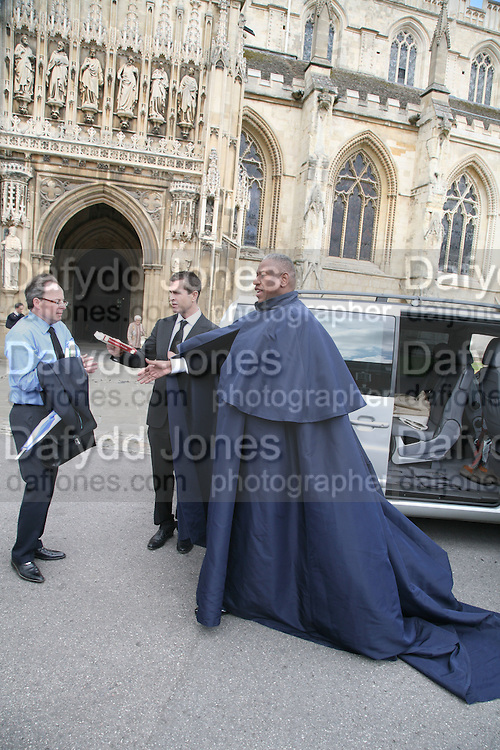 Rupert Everett and Andre Leon Talley, Funeral for Isabella Blow. Gloucester Cathedral. 15 May 2007.  -DO NOT ARCHIVE-© Copyright Photograph by Dafydd Jones. 248 Clapham Rd. London SW9 0PZ. Tel 0207 820 0771. www.dafjones.com.