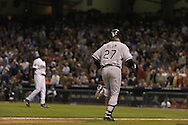 CHICAGO _ OCTOBER 25 : Geoff Blum of the Chicago White Sox  hits a home run in the 14th inning during Game 3 of the 2005 World Series against the Houston Astros at Minute Maid Park in Houston, TX on October 25, 2005.<br />
