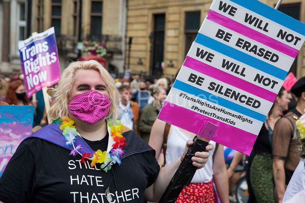 Thousands of people take part in a London Trans+ Pride march from the Wellington Arch to Soho Square on 26th June 2021 in London, United Kingdom. London Trans+ Pride is a grassroots protest event which is not affiliated with Pride in London and focuses on creating a space for the London trans, non-binary, intersex and GNC community to come together to celebrate their identities and to fight for their rights.