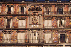 Madrid; Plaza Mayor  building decorated with paintings,