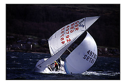 Scottish 420 Squad training in the Largs Channel.  Calum MacDonald demonstrates the Chinese Gybe...Marc Turner PFM Pictures