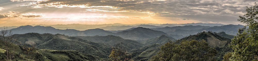The rugged mountain ranges in the remote regions of northern Laos, not far from the Chinese border.